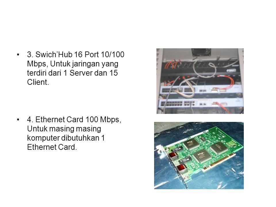 3. Swich'Hub 16 Port 10/100 Mbps, Untuk jaringan yang terdiri dari 1 Server dan 15 Client.