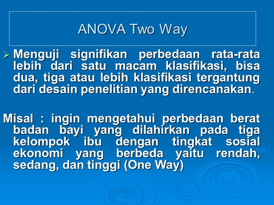 ANOVA Two Way