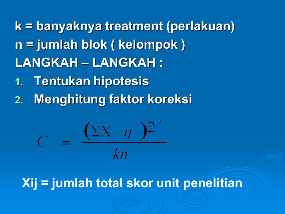 k = banyaknya treatment (perlakuan)