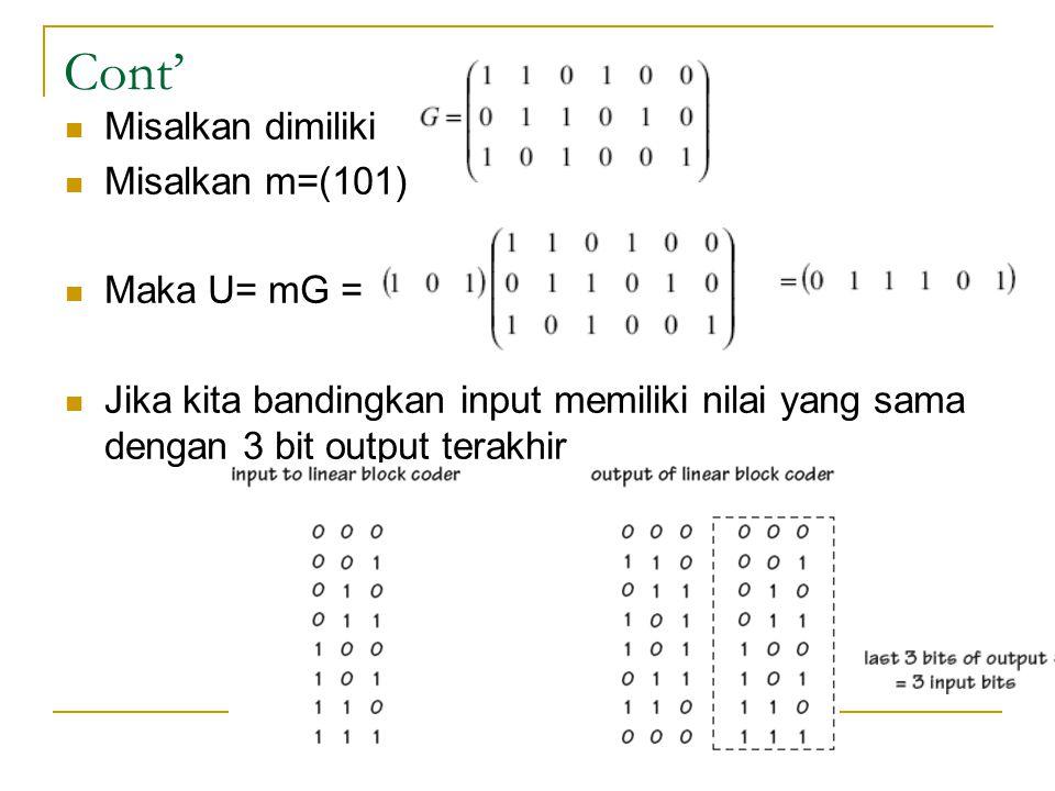 Cont' Misalkan dimiliki Misalkan m=(101) Maka U= mG =