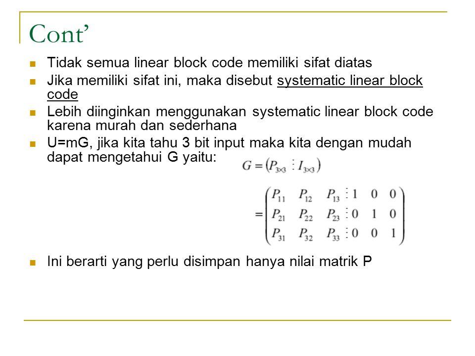 Cont' Tidak semua linear block code memiliki sifat diatas