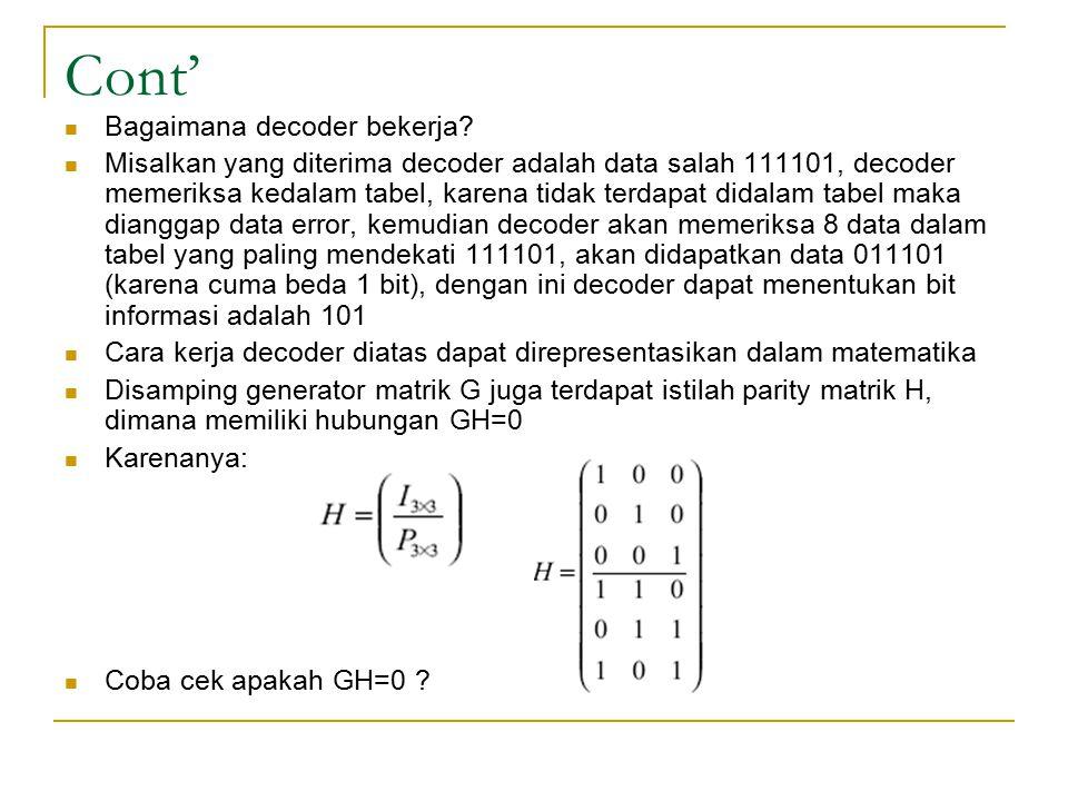 Cont' Bagaimana decoder bekerja