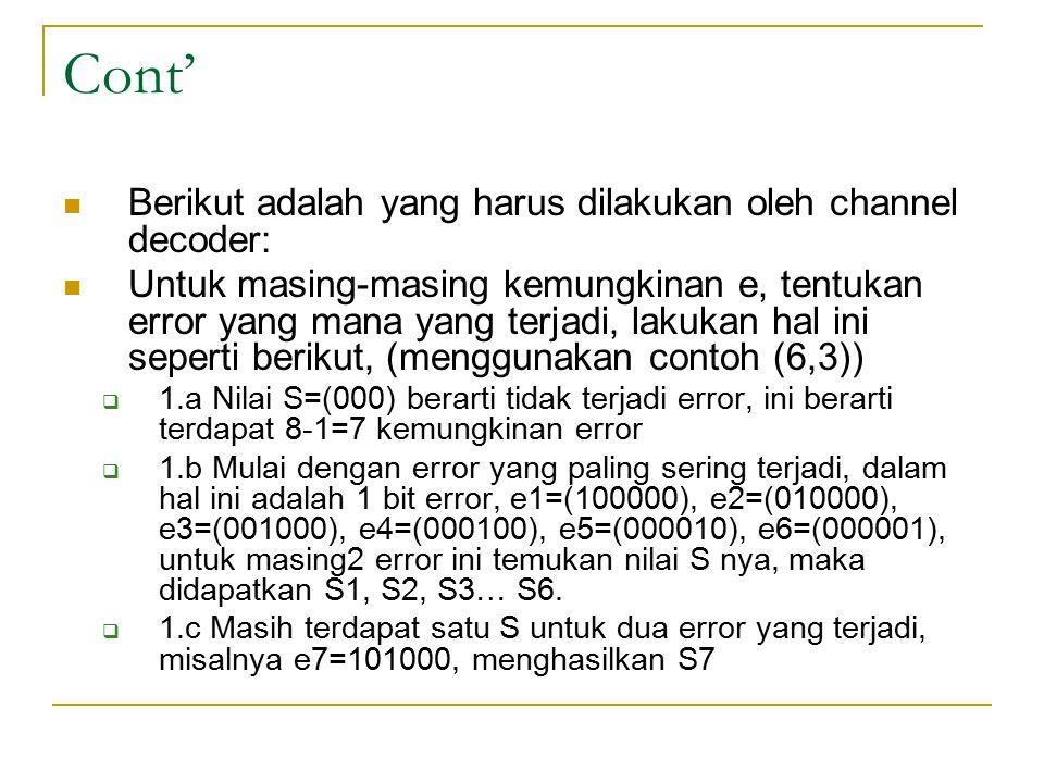 Cont' Berikut adalah yang harus dilakukan oleh channel decoder: