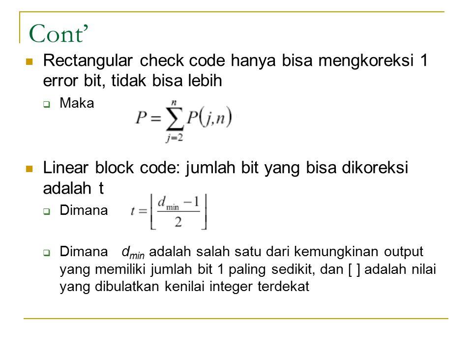 Cont' Rectangular check code hanya bisa mengkoreksi 1 error bit, tidak bisa lebih. Maka. Linear block code: jumlah bit yang bisa dikoreksi adalah t.