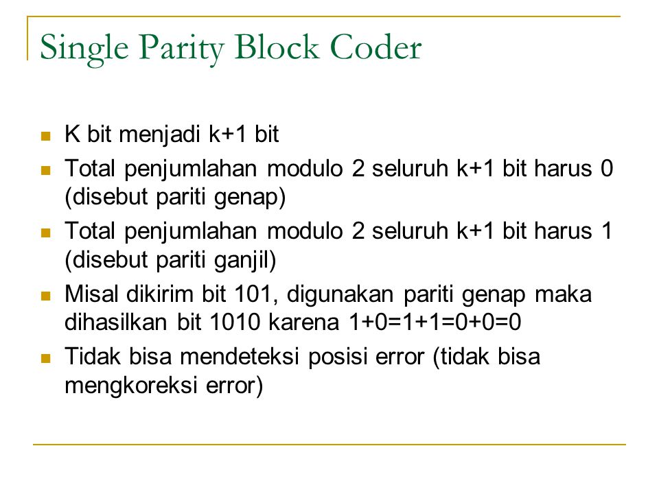 Single Parity Block Coder