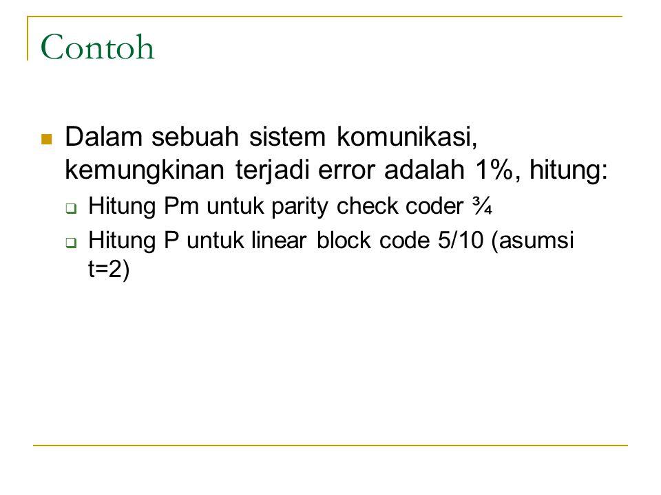 Contoh Dalam sebuah sistem komunikasi, kemungkinan terjadi error adalah 1%, hitung: Hitung Pm untuk parity check coder ¾.