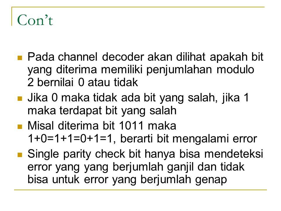 Con't Pada channel decoder akan dilihat apakah bit yang diterima memiliki penjumlahan modulo 2 bernilai 0 atau tidak.