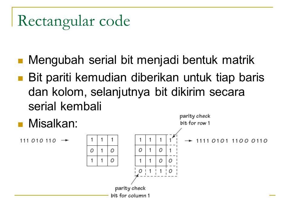 Rectangular code Mengubah serial bit menjadi bentuk matrik