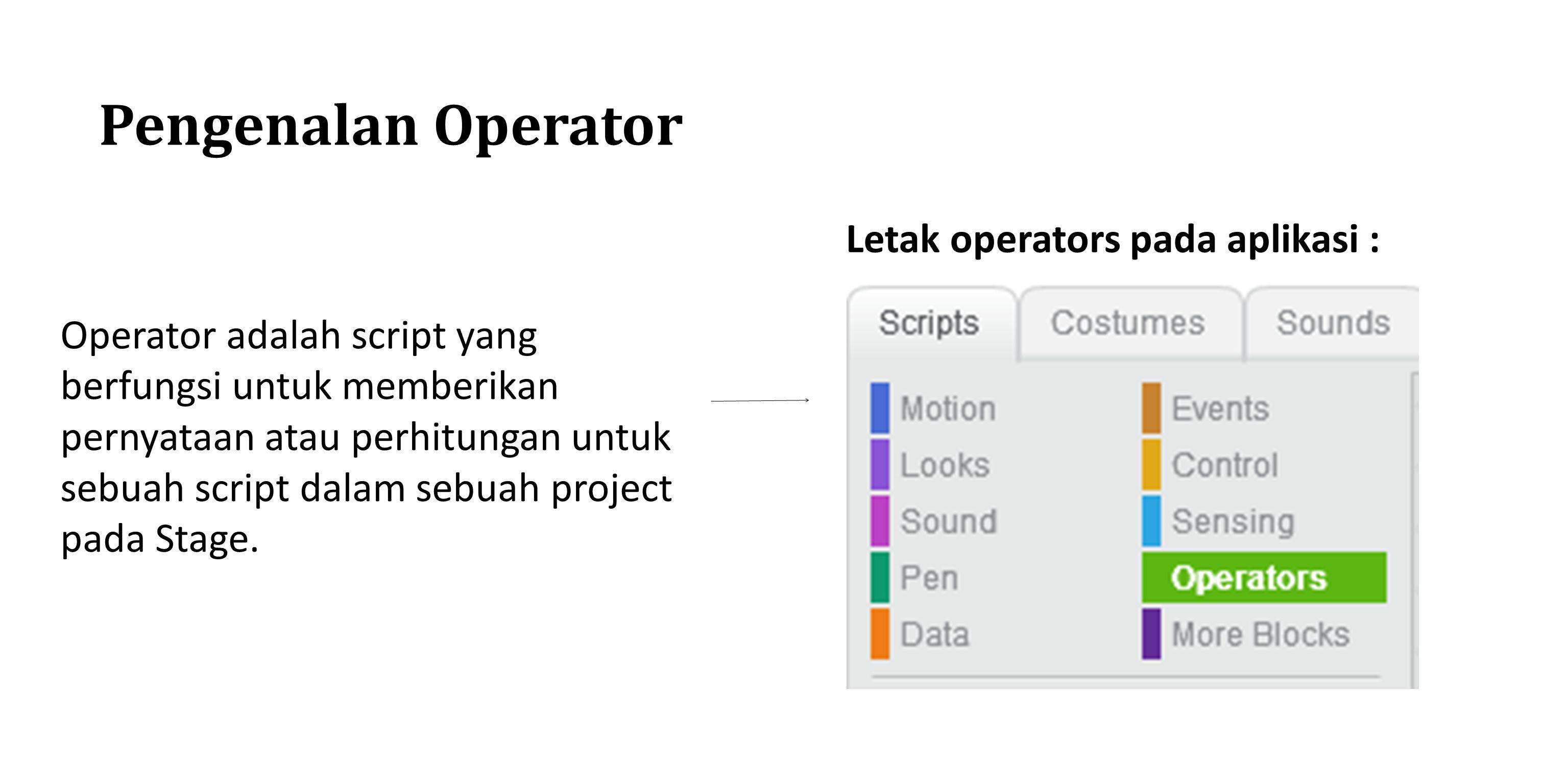 Pengenalan Operator Letak operators pada aplikasi :