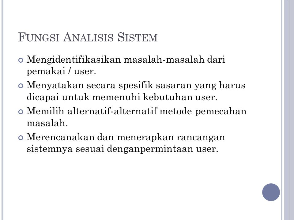 Fungsi Analisis Sistem