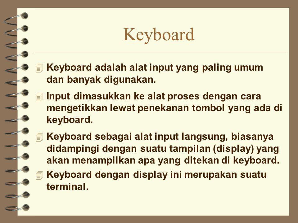 Keyboard Keyboard adalah alat input yang paling umum dan banyak digunakan.