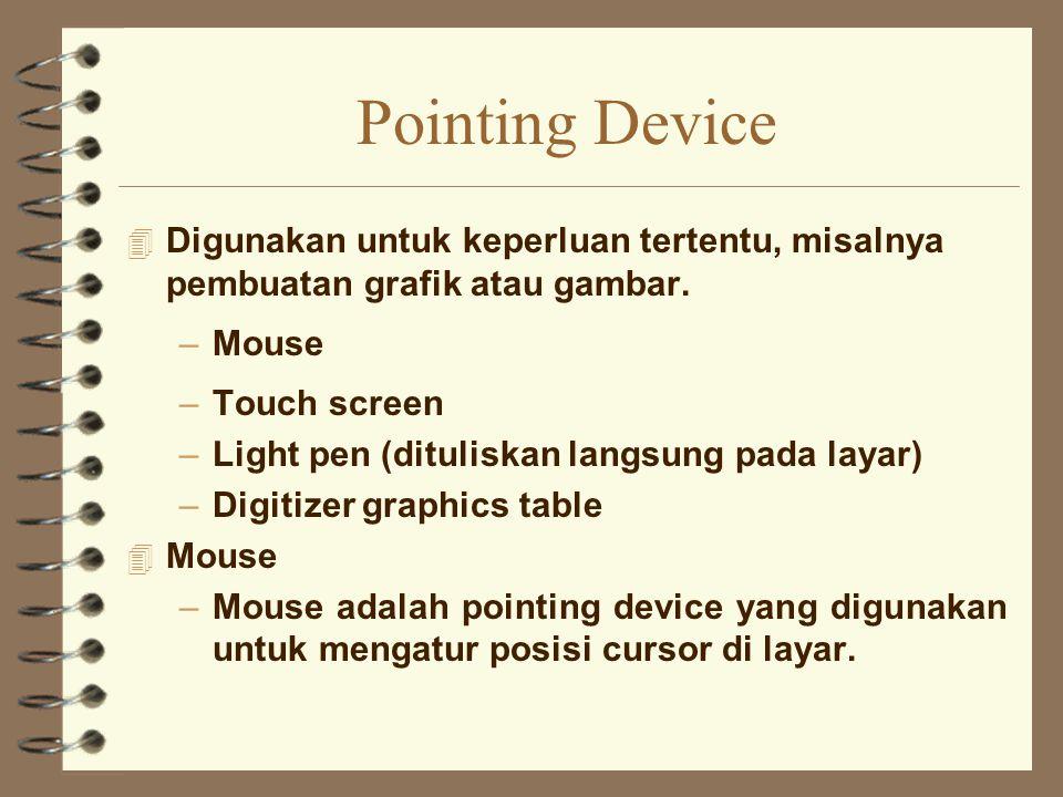 Pointing Device Digunakan untuk keperluan tertentu, misalnya pembuatan grafik atau gambar. Mouse.