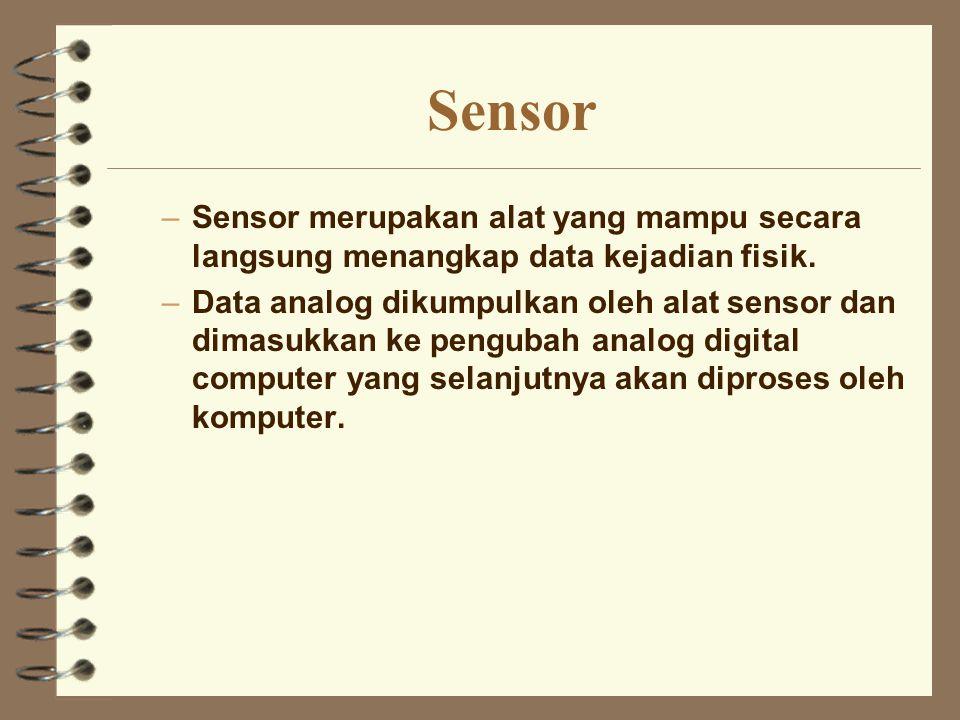 Sensor Sensor merupakan alat yang mampu secara langsung menangkap data kejadian fisik.