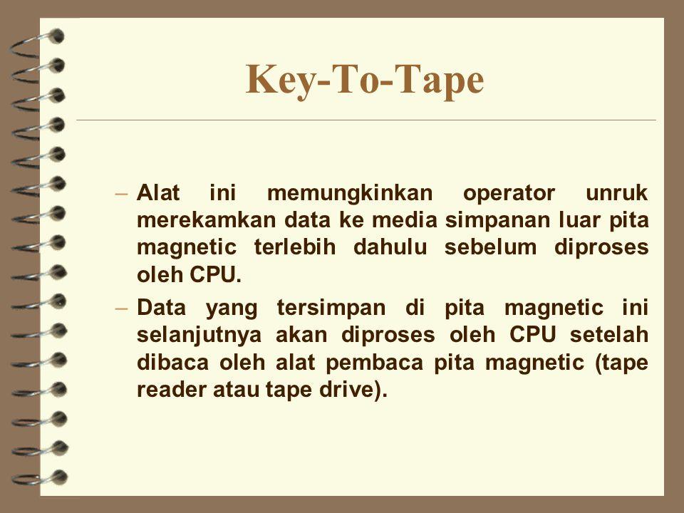 Key-To-Tape Alat ini memungkinkan operator unruk merekamkan data ke media simpanan luar pita magnetic terlebih dahulu sebelum diproses oleh CPU.