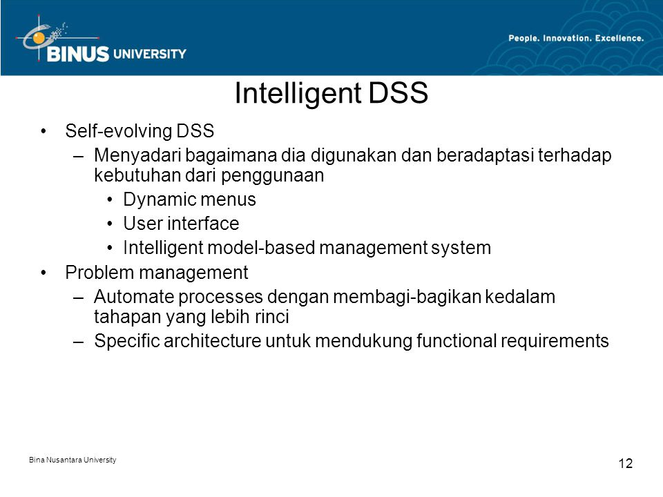 Intelligent DSS Self-evolving DSS