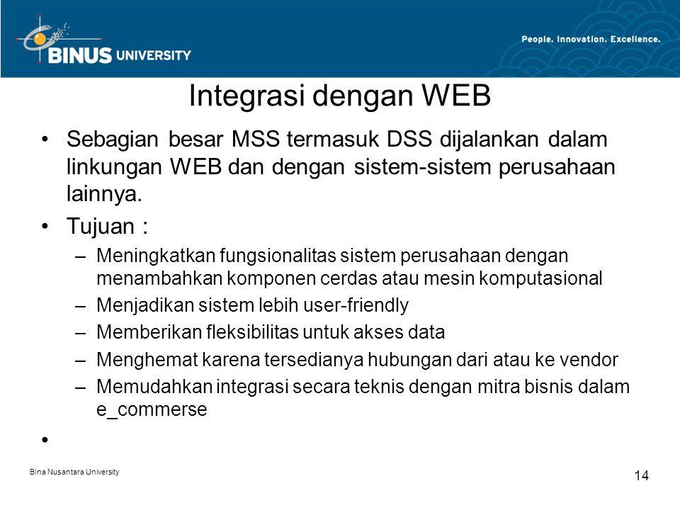 Integrasi dengan WEB Sebagian besar MSS termasuk DSS dijalankan dalam linkungan WEB dan dengan sistem-sistem perusahaan lainnya.