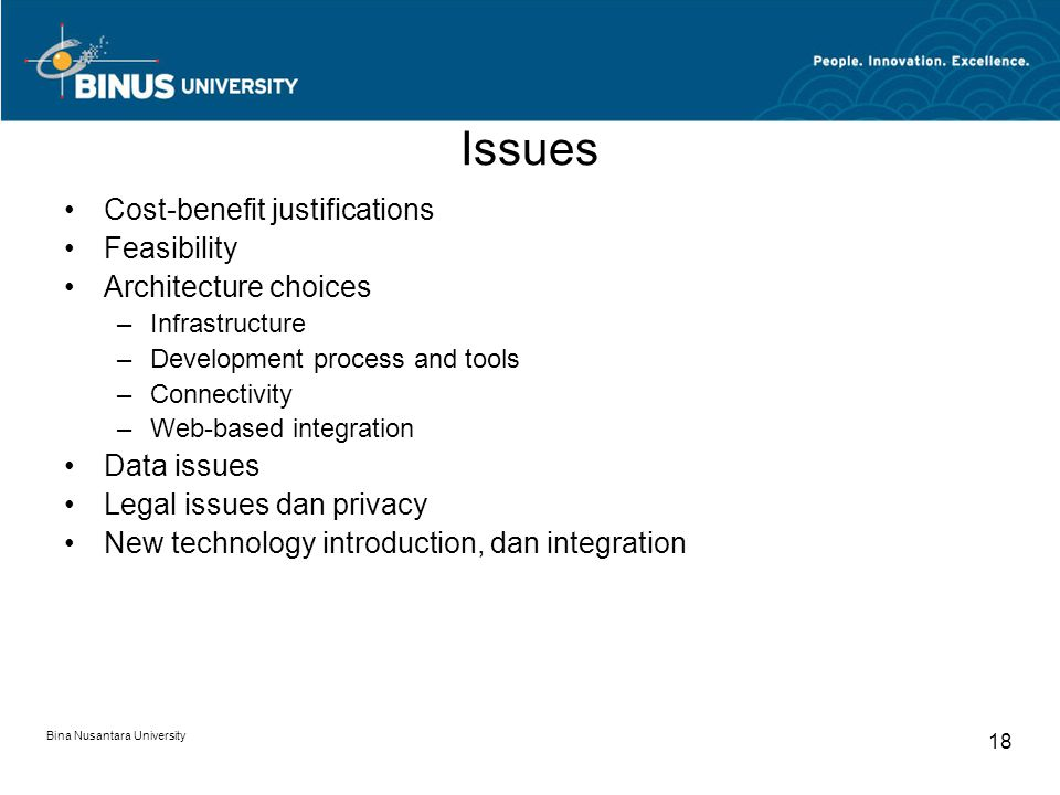 Issues Cost-benefit justifications Feasibility Architecture choices