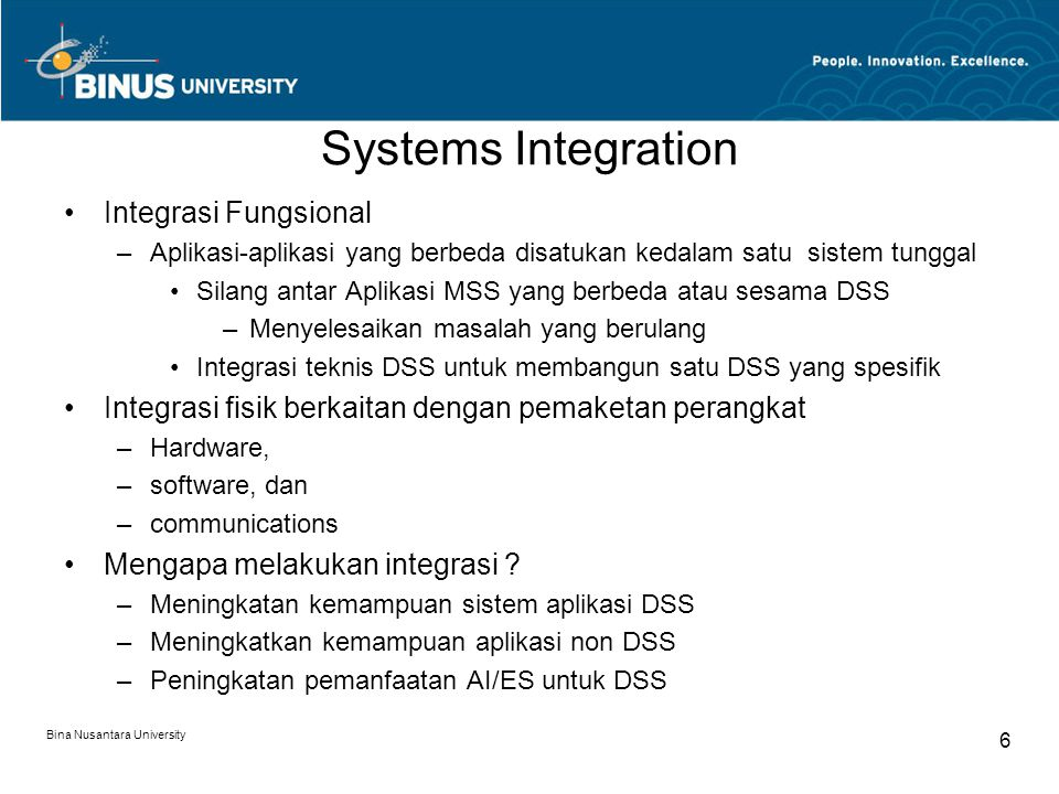 Systems Integration Integrasi Fungsional