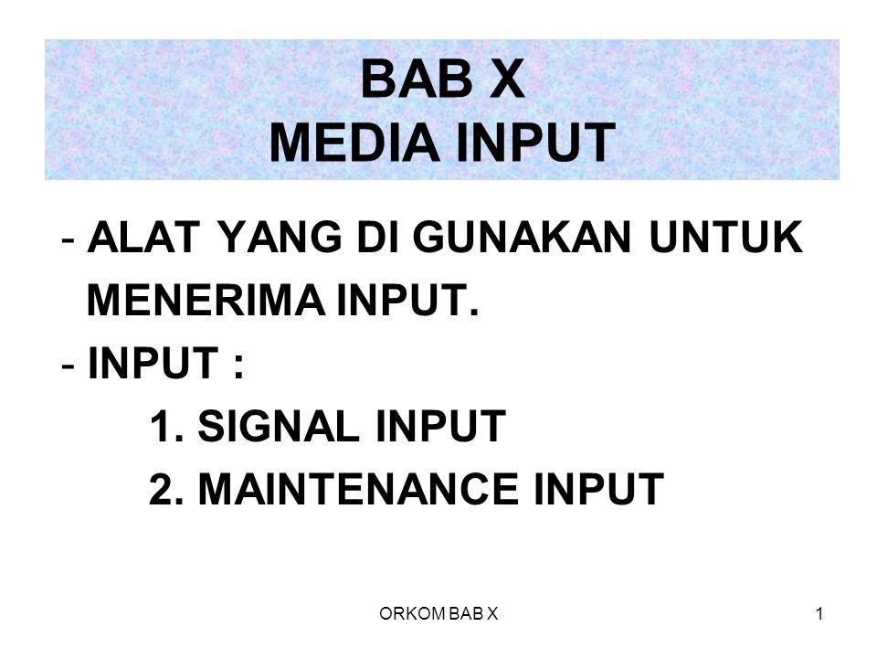 BAB X MEDIA INPUT ALAT YANG DI GUNAKAN UNTUK MENERIMA INPUT. INPUT :