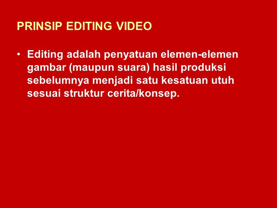 PRINSIP EDITING VIDEO Editing adalah penyatuan elemen-elemen