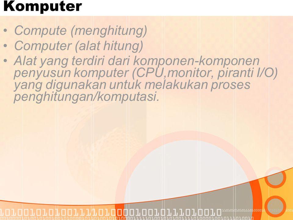 Komputer Compute (menghitung) Computer (alat hitung)