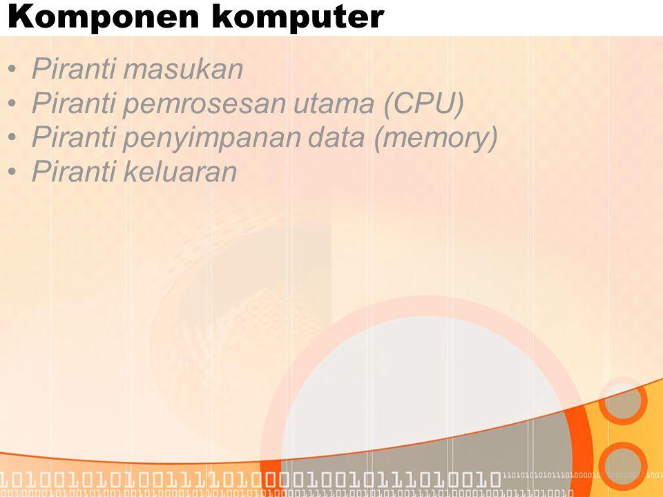 Komponen komputer Piranti masukan Piranti pemrosesan utama (CPU)