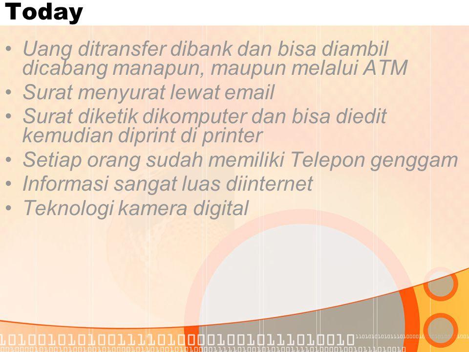 Today Uang ditransfer dibank dan bisa diambil dicabang manapun, maupun melalui ATM. Surat menyurat lewat email.