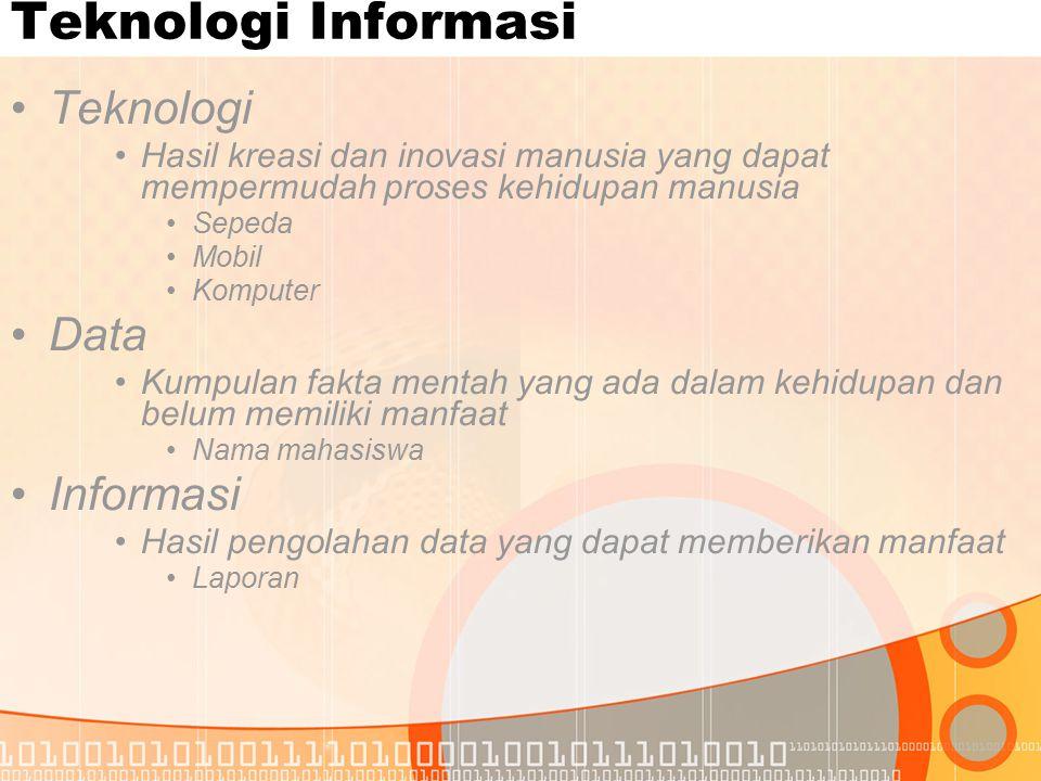 Teknologi Informasi Teknologi Data Informasi