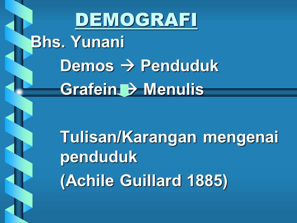 DEMOGRAFI Bhs. Yunani Demos  Penduduk Grafein  Menulis