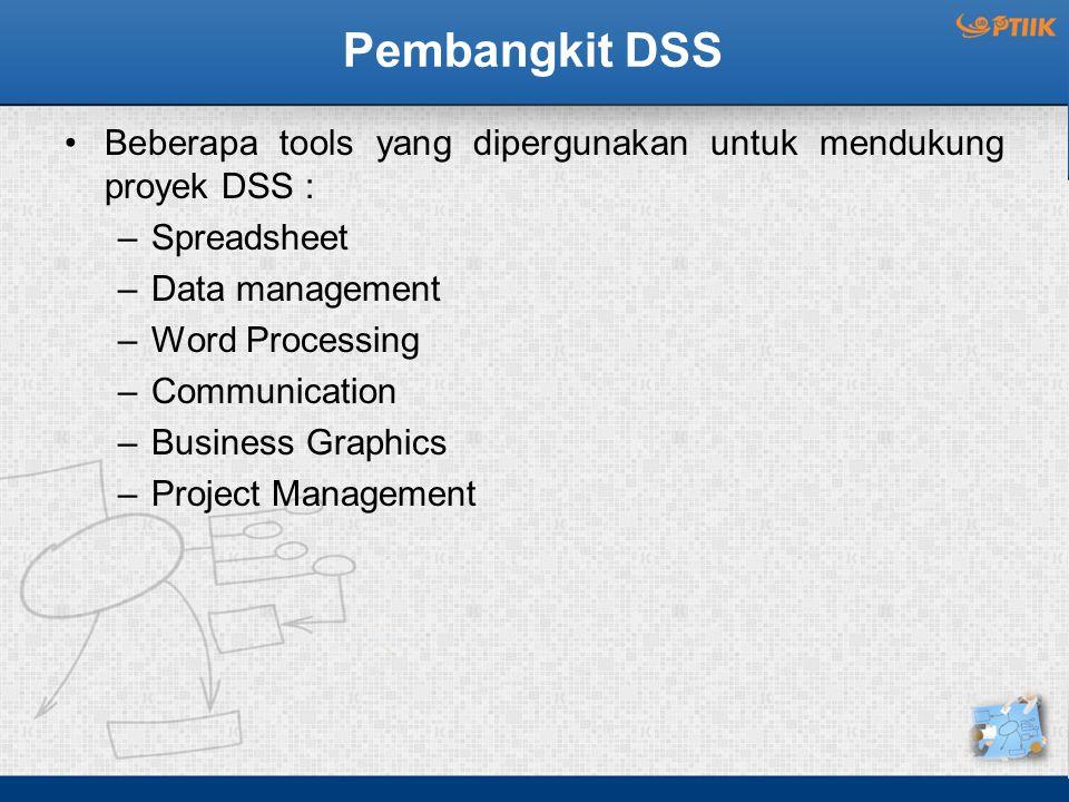 Pembangkit DSS Beberapa tools yang dipergunakan untuk mendukung proyek DSS : Spreadsheet. Data management.