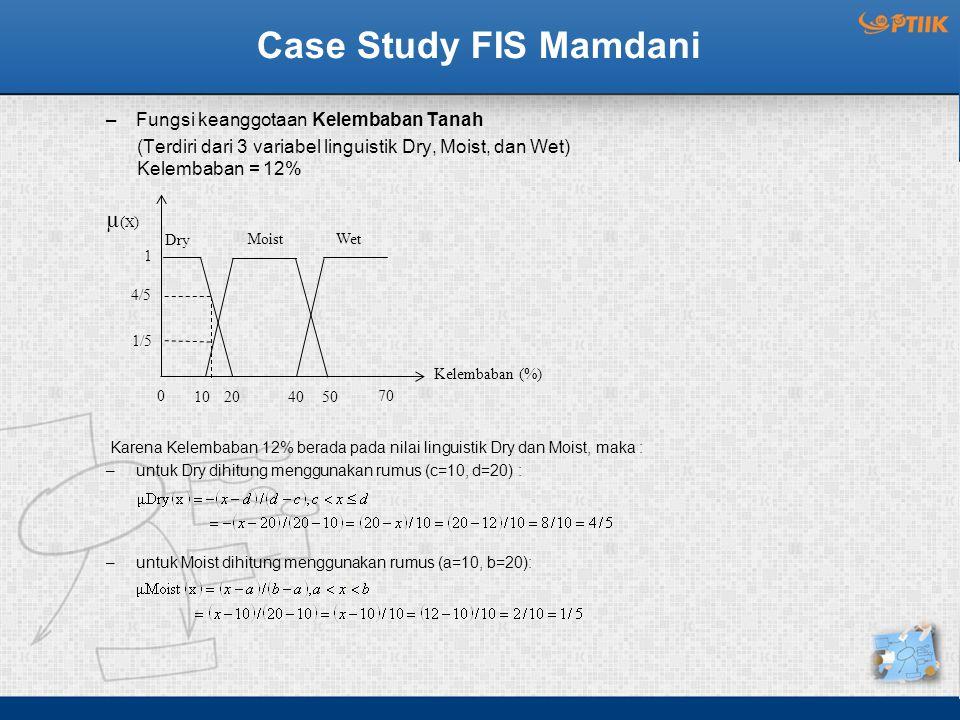 Case Study FIS Mamdani µ(X) Fungsi keanggotaan Kelembaban Tanah
