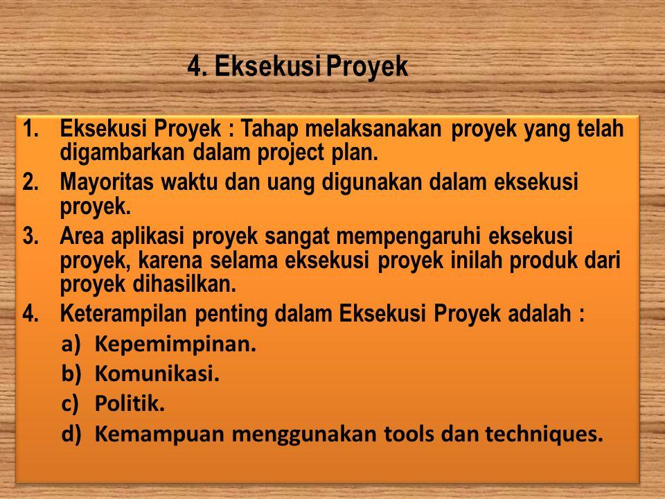 4. Eksekusi Proyek Eksekusi Proyek : Tahap melaksanakan proyek yang telah digambarkan dalam project plan.