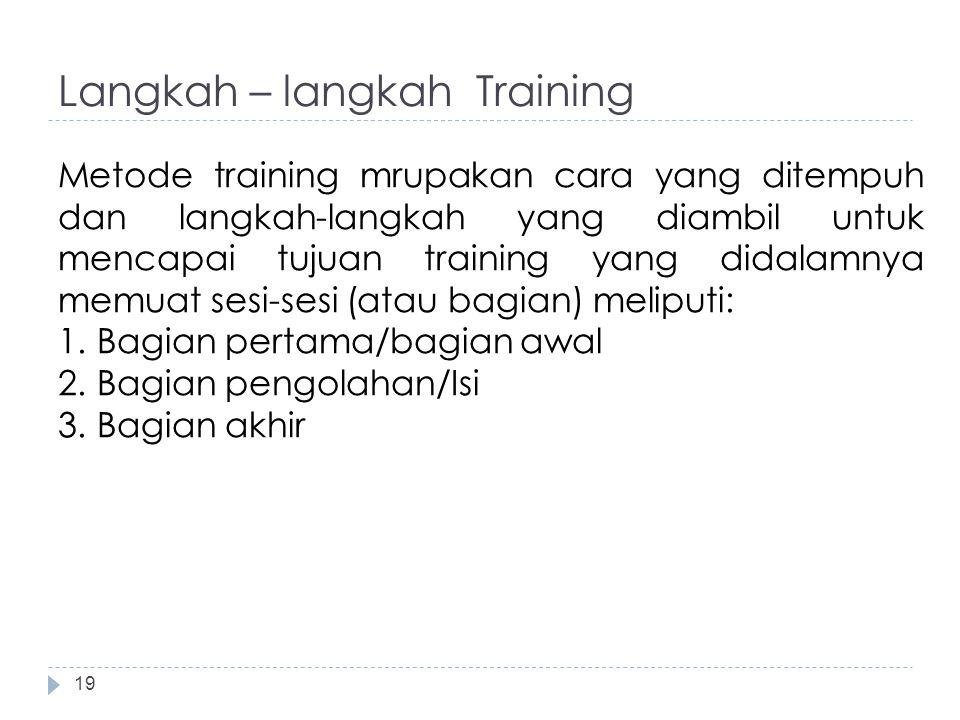 Langkah – langkah Training