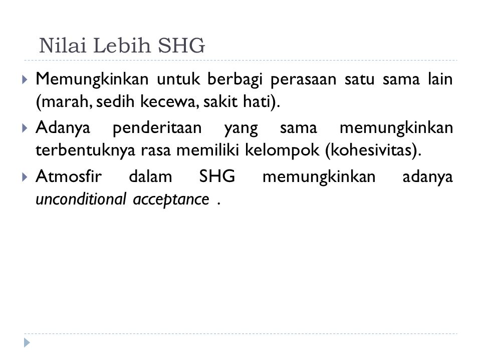 Nilai Lebih SHG Memungkinkan untuk berbagi perasaan satu sama lain (marah, sedih kecewa, sakit hati).