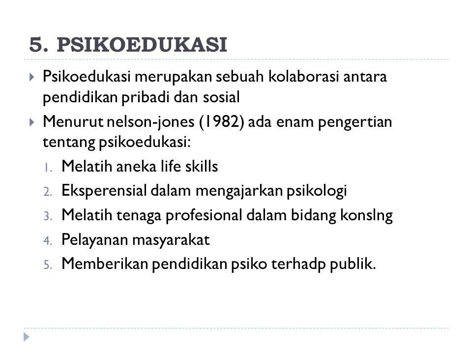 5. PSIKOEDUKASI Psikoedukasi merupakan sebuah kolaborasi antara pendidikan pribadi dan sosial.