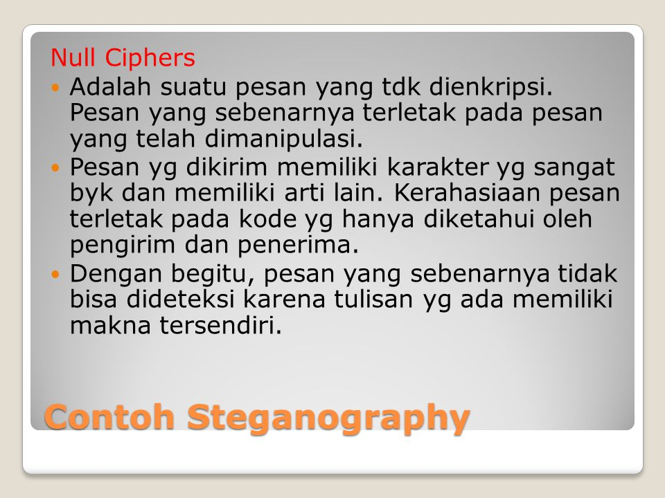Contoh Steganography Null Ciphers
