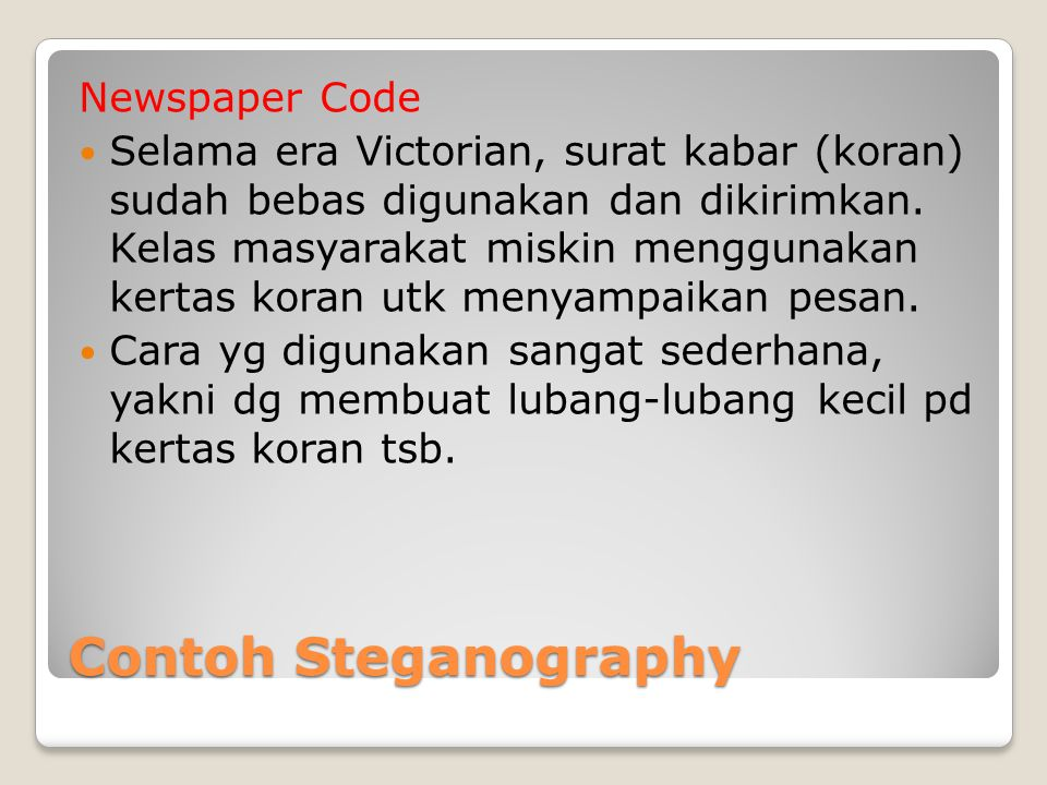 Contoh Steganography Newspaper Code