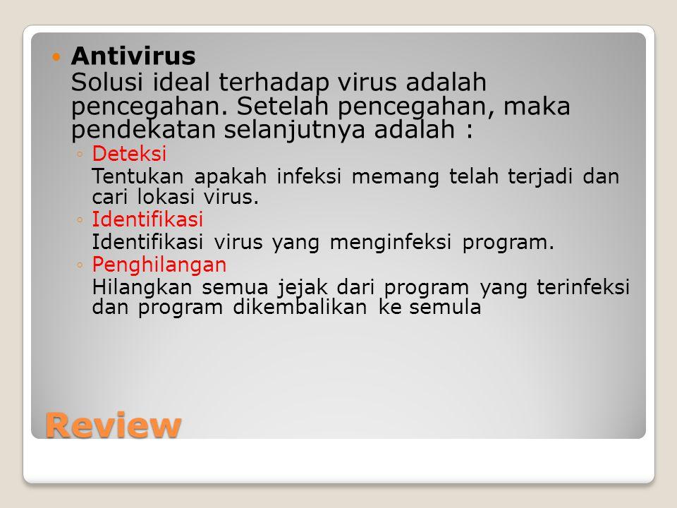 Antivirus Solusi ideal terhadap virus adalah pencegahan. Setelah pencegahan, maka pendekatan selanjutnya adalah :
