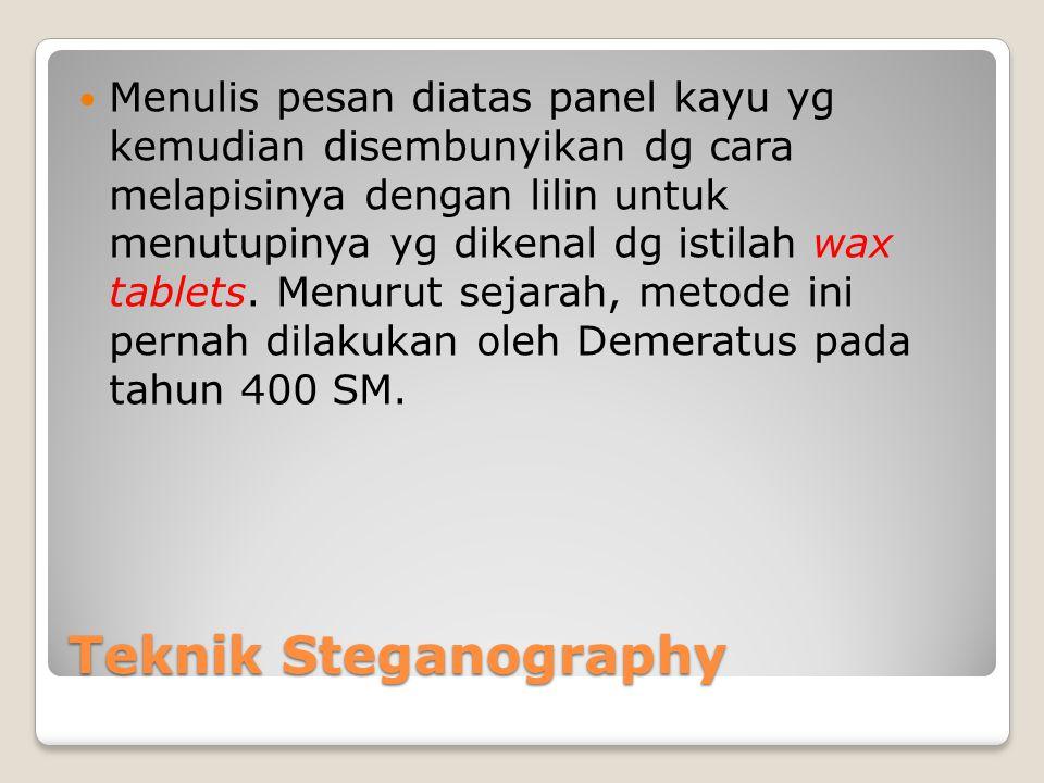 Menulis pesan diatas panel kayu yg kemudian disembunyikan dg cara melapisinya dengan lilin untuk menutupinya yg dikenal dg istilah wax tablets. Menurut sejarah, metode ini pernah dilakukan oleh Demeratus pada tahun 400 SM.