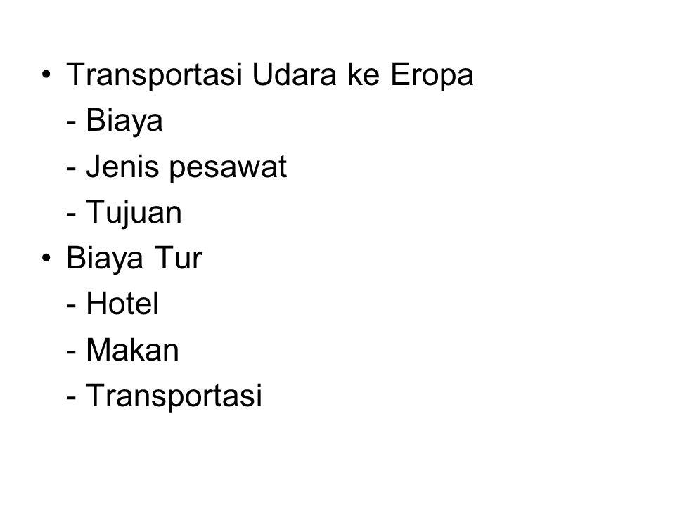 Transportasi Udara ke Eropa