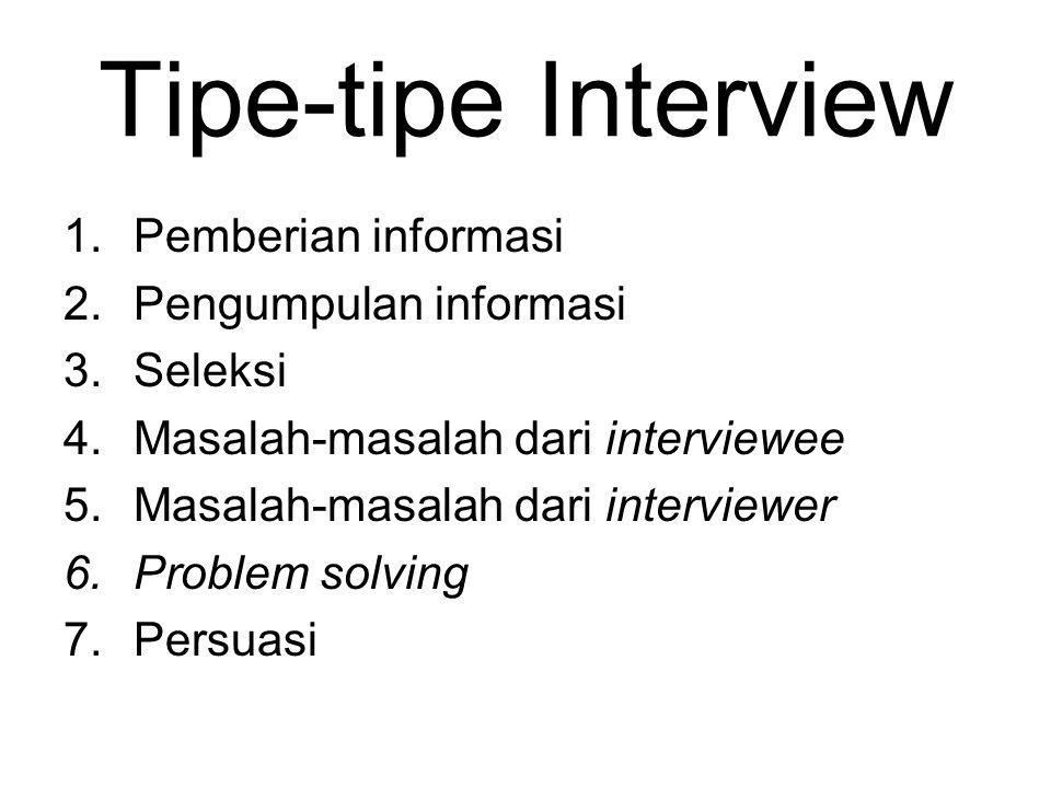 Tipe-tipe Interview Pemberian informasi Pengumpulan informasi Seleksi