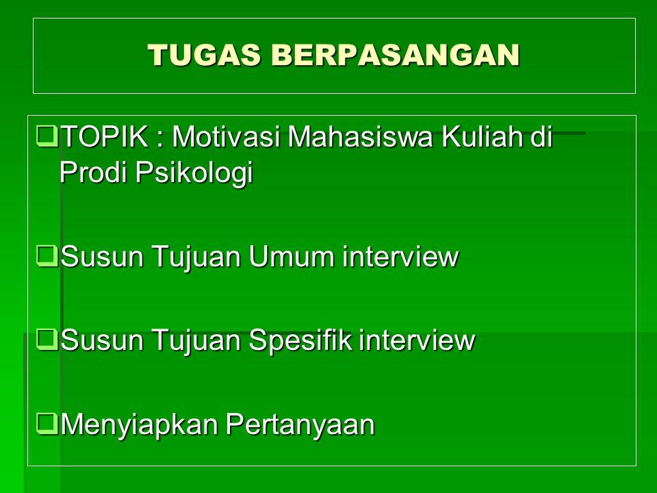 TUGAS BERPASANGAN TOPIK : Motivasi Mahasiswa Kuliah di Prodi Psikologi. Susun Tujuan Umum interview.