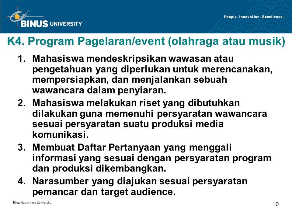 K4. Program Pagelaran/event (olahraga atau musik)