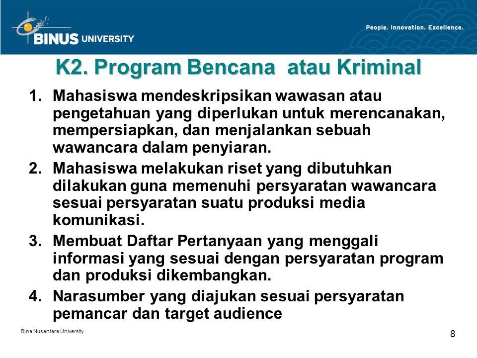 K2. Program Bencana atau Kriminal