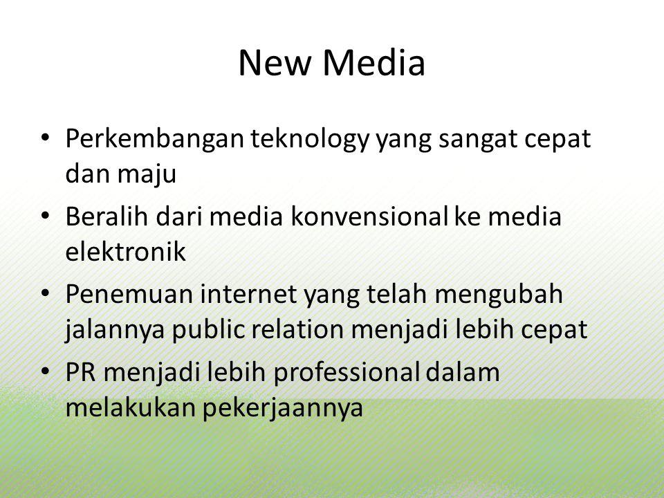 New Media Perkembangan teknology yang sangat cepat dan maju