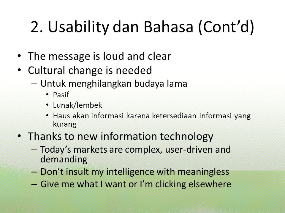 2. Usability dan Bahasa (Cont'd)