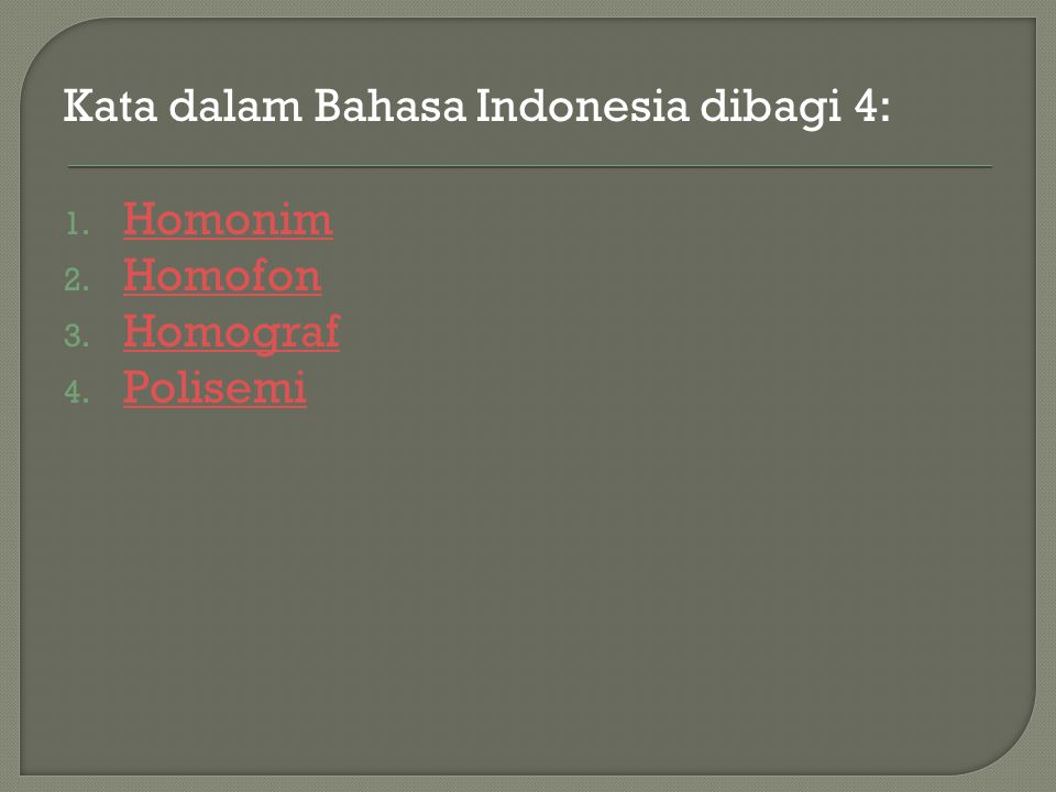 Kata dalam Bahasa Indonesia dibagi 4:
