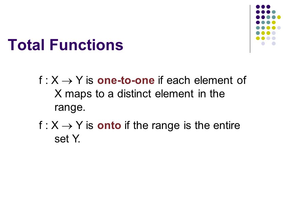 Total Functions f : X  Y is one-to-one if each element of X maps to a distinct element in the range.