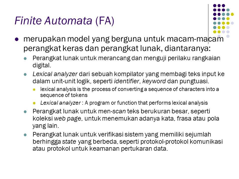 Finite Automata (FA) merupakan model yang berguna untuk macam-macam perangkat keras dan perangkat lunak, diantaranya: