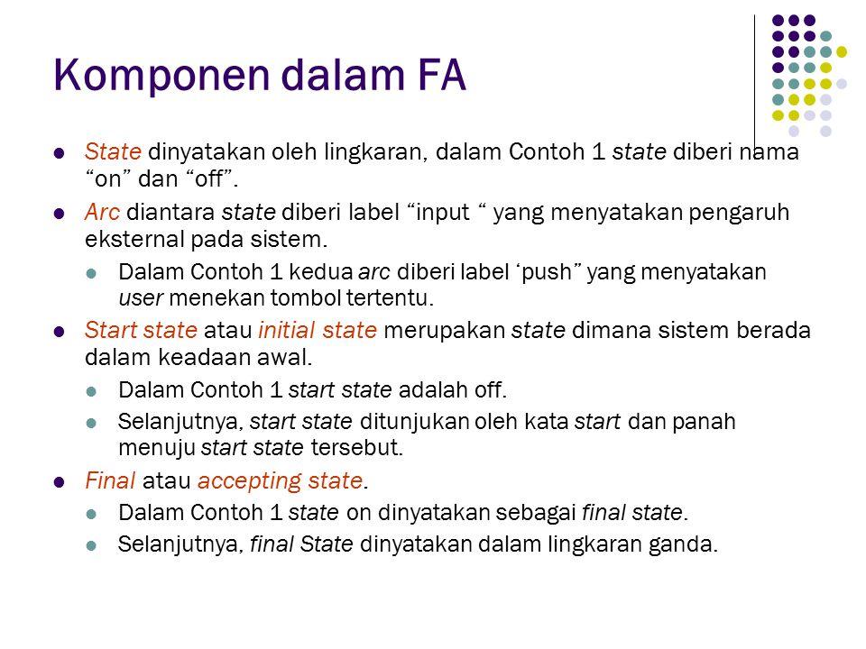 Komponen dalam FA State dinyatakan oleh lingkaran, dalam Contoh 1 state diberi nama on dan off .